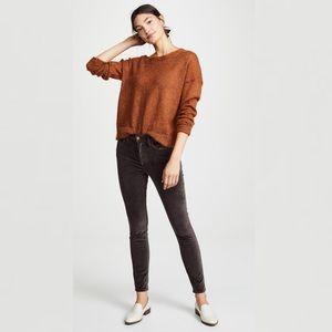 FRAME Le Skinny High Velveteen Charcoal Jeans